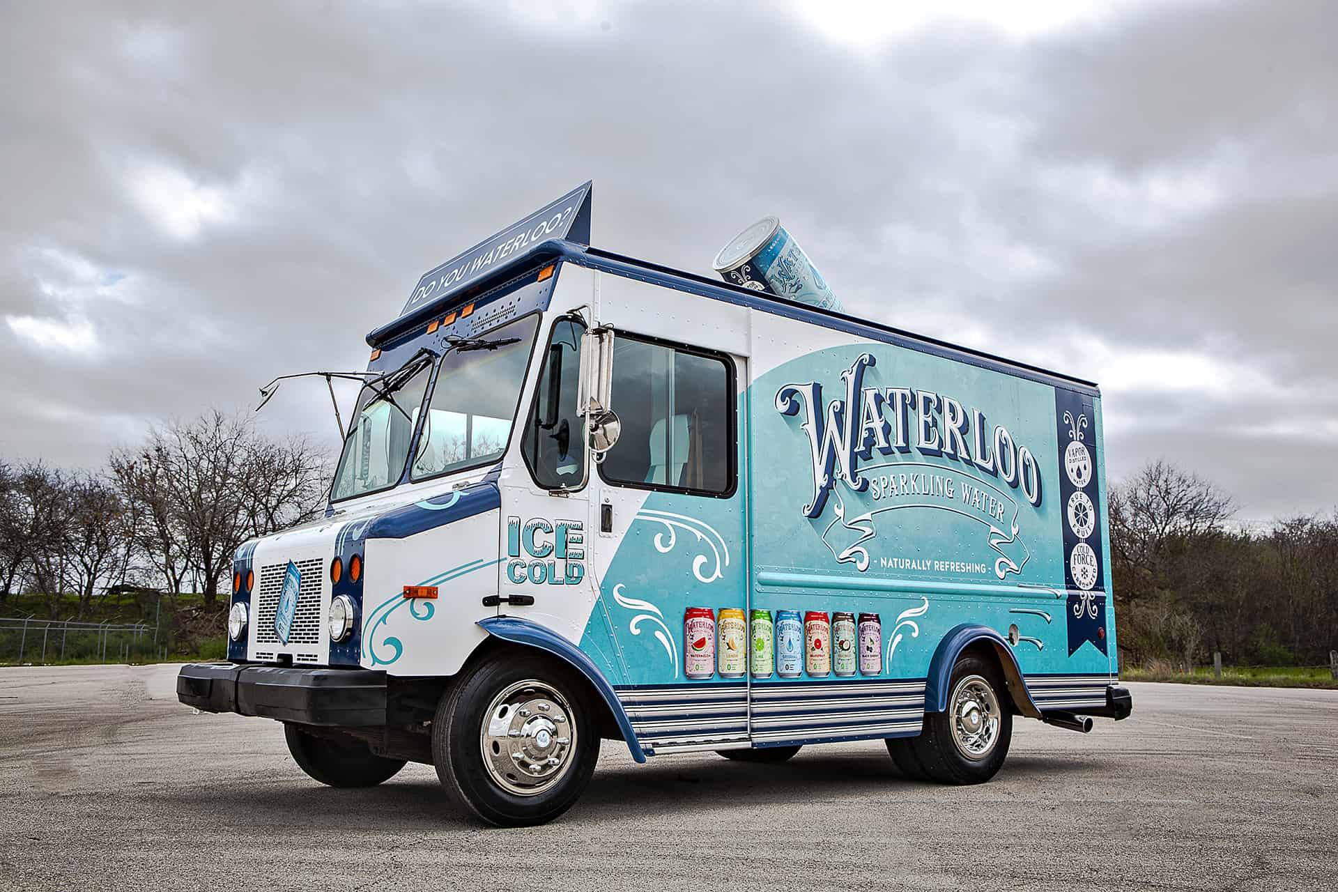 Custom Food Truck   Waterloo Sparkling Water Food Truck Exterior